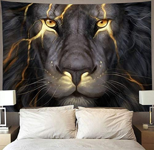 Golden Cool Lion King paninting Wall Tapestry Hippie Art Tapestry Wall Hanging Home Decor Extra Large tablecloths 60×80 inches for Bedroom Living Room Dorm Room