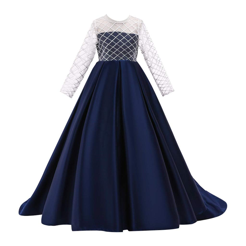 Kids Girls Solid Color Vintage Gown Teens Lace Long Sleeve Floor Bridesmaid Party Dance Dresses for Wedding (Age:7-8 Years, Navy) by FDSD Baby Clothes