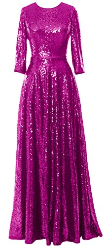 Elegant MACloth Sequin Sleeve the Gown Vintage 4 Bride of Dress Evening 3 Fuchsia Mother 4xwTxId