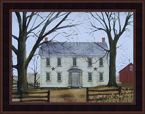 (Early American Home by Billy Jacobs 15x19 Americana Country House Primitive Folk Art Print Wall Décor Framed Picture)