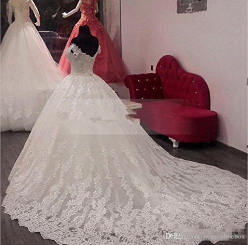 White Sequin Gowns Dresses lace With Bride Women's Ball Fanciest White Wedding Lace 2017 txwfF0n78q
