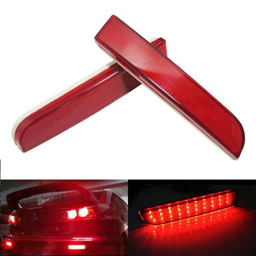 Evo Rear Bumper (iJDMTOY OEM Red Lens LED Bumper Reflector Lights For Mitsubishi Lancer, Evolution X or Outlander)