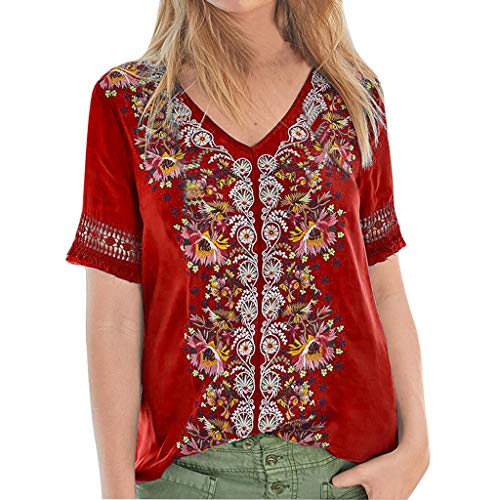 Toimothcn Women Bohemian V Neck Tops Lace Splice Floral Print Short Sleeve Vintage Shirt Blouse (Red,M)