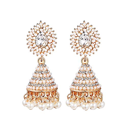 Bohemian Water-drop Dangle Earrings Women's Pearl Elegant Vintage Openwork Shiny Crystal Drop Earrings by Phoebe-lulu