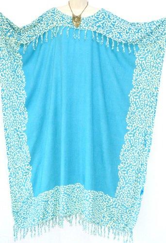 Coole ample à nIA ample à capuche pour femme motif beach wear vêtements longues franges pour femme motif fringe ladies womens-robe de plage bleu aération en vrac (bleu)