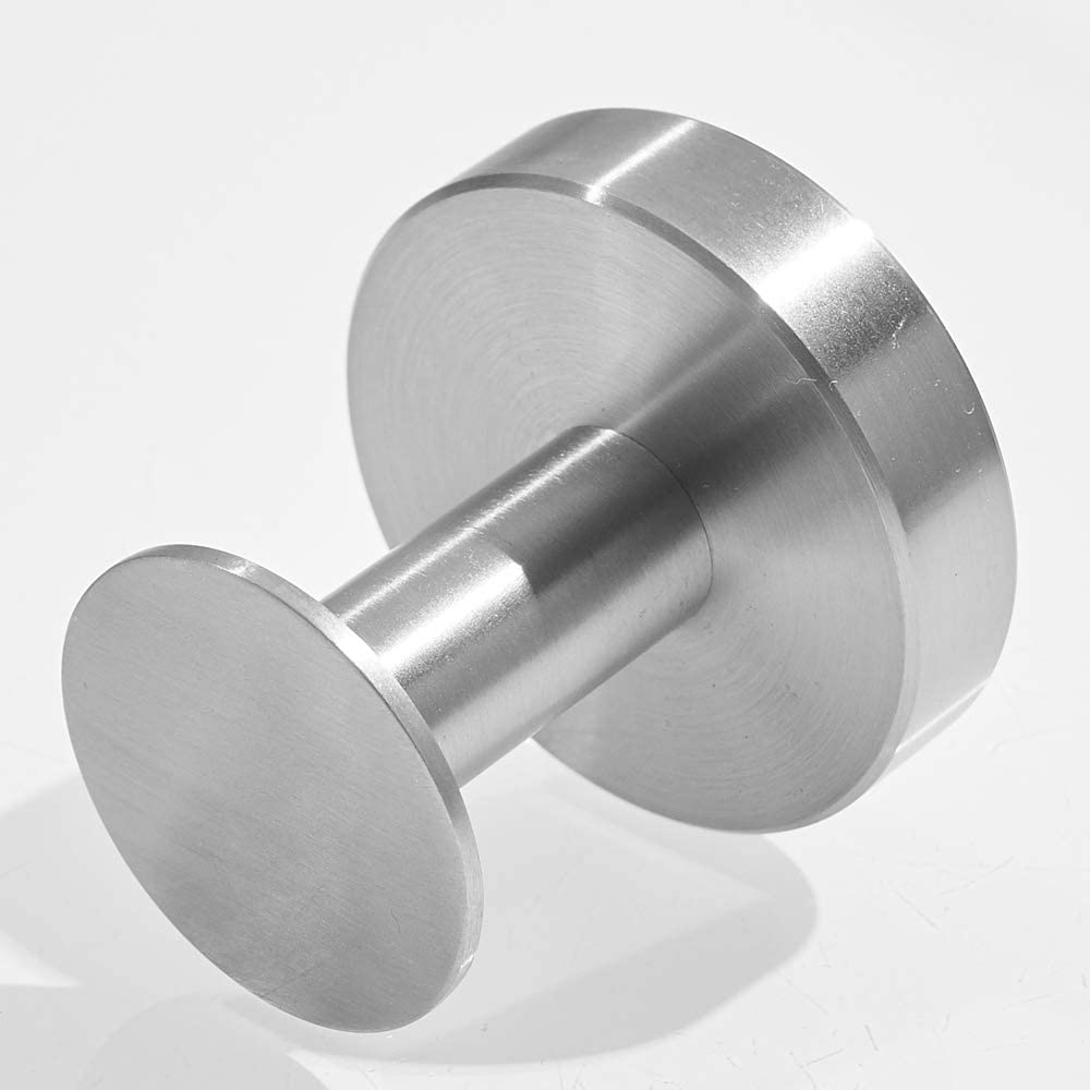 Stainless Steel Construction Towel Hook Brushed Finished Round Modern Shape Bathroom Shower Kitchen Wall Mounted Drilling WOLIBEER Silver Clothes Hook