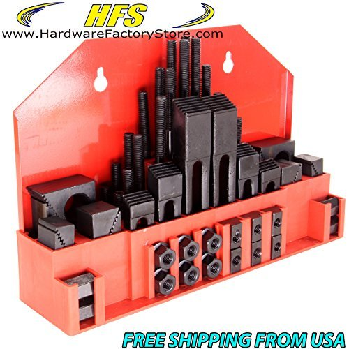 HFS(R) 58pc 7/16'' Slot,3/8'' Stud HOLD DOWN CLAMP CLAMPING SET KIT BRIDGEPORT MILL by HardwareFactoryStore.com