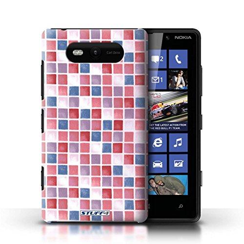 Etui / Coque pour Nokia Lumia 820 / Rouge/Bleu conception / Collection de Carreau Bain