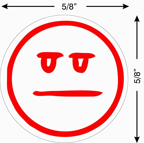 Imprint 360 AS-IMP2007 Teacher Stamp - Straight Face Smily Face, Red Ink, Durable, Light Weight Self-Inking Stamp, 5/8'' Impression Area by Imprint 360 (Image #2)