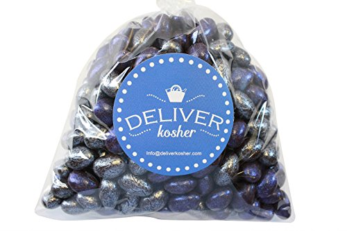 (Deliver Kosher Bulk Candy - Silver & Navy Jewel Chocolate Almonds - 1lb Bag)