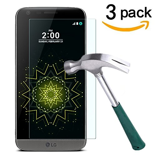 LG G5 Screen Protector,TANTEK [Anti-Bubble][HD Ultra Clear][Scratch Resist][Anti-Glare][Anti Fingerprint] Premium Tempered Glass Screen Protector for LG G5,[Lifetime Warranty]-[3-Pack]