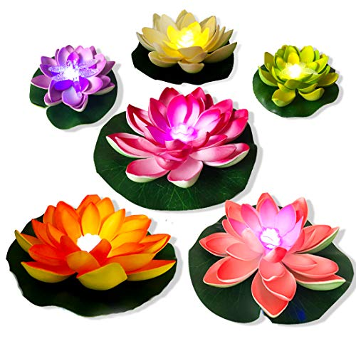 Pool Floating Lights, Realistic Water Lily Pads, Vibrant Color Pink Ivory Orange Crimson, Perfect for Home Garden Patio Pond Aquarium Swimming Pool Wedding Party Decor