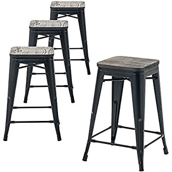 amazon com furmax 24 metal stools high backless metal indoor