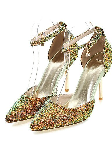 LFNLYX Zapatos de mujer-Tacón Stiletto-Tacones / D'Orsay y Dos Piezas / Puntiagudos-Sandalias-Vestido / Casual / Fiesta y Noche-Purpurina-Negro Black