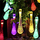 S&G Fairy Garden Lights, Multi-Color 7.85M 40 LED Fairy Lights Solar Powered Waterproof Water Drop String Lights Christmas Decoration LED String Light for Outdoor, Garden, Patio, Yard, Home, Christmas Tree, Parties        ...