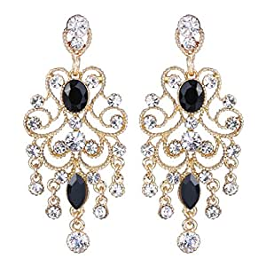 BriLove Women's Vintaged Style Bridal Crystal Drop Hollow Chandelier Filigree Dangle Earrings Gold-tone Black