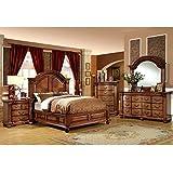 Bellagrand English Style Antique Tobacco Oak Finish Eastern King Size 6-Piece Bedroom Set