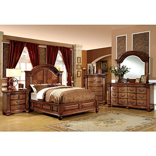 Bellagrand English Style Antique Tobacco Oak Finish Queen Size 6-Piece Bedroom Set (Hardwood Bedroom Furniture Sets)