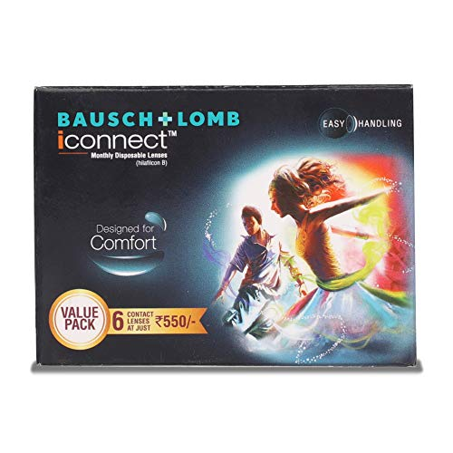 Bausch & Lomb Iconnect Value Pack Contact Lens – 6 Pieces (-2) With Renu Solution 120 ml