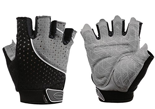 Tourdarson Weight Lifting Gloves for Women & Men, Anti-Slip Silica Gel Grip Padded Workout Gloves for Weightlifting, Cross Training, Gym, Fitness, Bodybuilding (Gray&Black, Large) ()