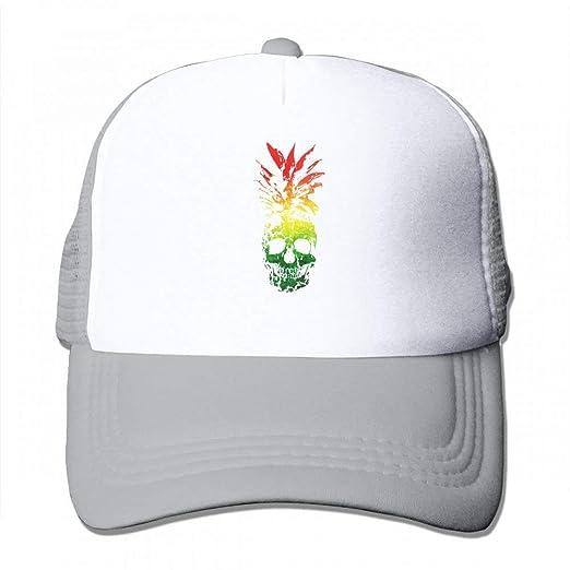 674659ac6fc7e5 Amazon.com: Jia3261 Pineapple Skull Hipster Rasta Men Trucker Hat ...