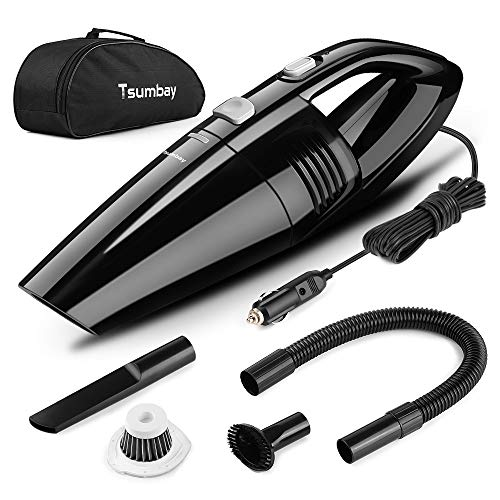 Tsumbay Car Vacuum, DC 12V Car Vacuum Cleaner High Power 5000PA, Wet Dry 120W Handheld Vacuum, Car Vacuum w Stainless Steel Filter, Corded Car Vacuum, Car Dustbuster- 3 Attachments, Carry Bag