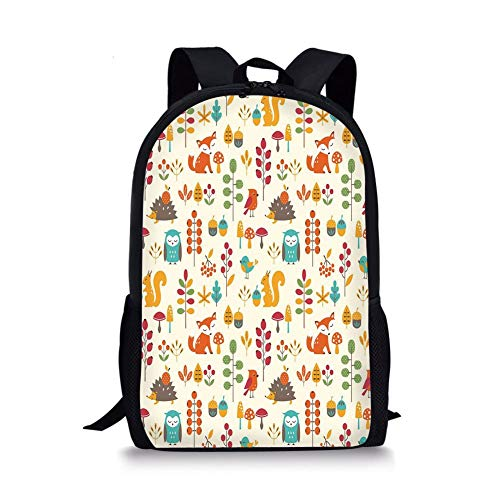 School Bags Children,Cute Kids Autumn Pattern with Owl Fox Squirrel Birds Animal Leaves Artsy Print,Multicolor for Boys&Girls Mens Sport Daypack