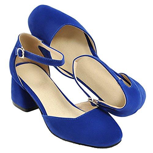 AIYOUMEI Damen Wildleder Blockabsatz knöchelriemchen Pumps mit 5cm Absatz und Schnalle Modern Schuhe Blau