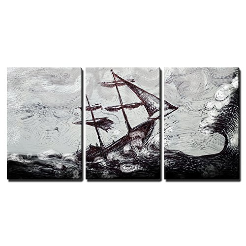 "Wall26 - 3 Piece Canvas Wall Art - Illustration - Classic Boat Illustration, Sailing Boat in the Storm - Modern Home Decor Stretched and Framed Ready to Hang - 24""x36\""x3 Panels"