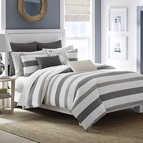Nautica Chatfield Comforter Set, King, Ivory/Grey