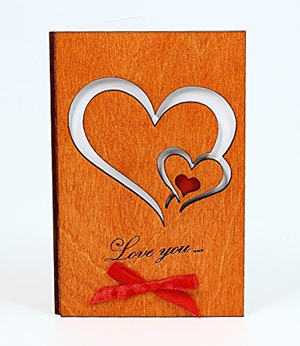 Handmade Real Wood Love You Hearts Unique Greeting Card Best Happy Birthday Gift Wedding Dating 5th Fifth Wooden Anniversary Novelty Present for Him Man Husband Boyfriend Fiancé or Her Woman Wife Girlfriend Fiancee or Original Miss Thinking of U Keepsake