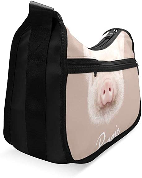 Cute Cartoon Piggy In Love Messenger Bag Crossbody Bag Large Durable Shoulder School Or Business Bag Oxford Fabric For Mens Womens