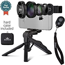 Camera Lens Kit Zeso | Professional CPL, Macro & Wide Angle Lenses | Multi-use Tripod & Selfie Remote Control iPhone, Samsung Galaxy, iPads, Tablets | Hard Storage Case & Universal Phone Clip