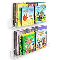 NIUBEE Acrylic Invisible Floating Bookshelf 2 Pack,Kids Clear Wall Bookshelves Display Book Shelf,50% Thicker with Free Screwdriver