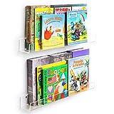 NIUBEE Acrylic Invisible Floating Bookshelf 2 Pack,Kids Clear Wall Bookshelves Display Book Shelf,50%
