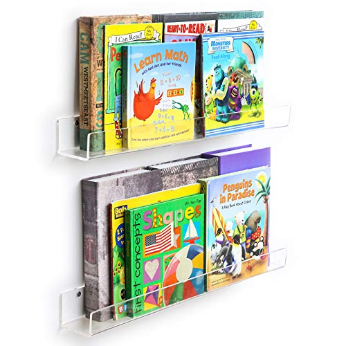 (NIUBEE Acrylic Invisible Floating Bookshelf 2 Pack,Kids Clear Wall Bookshelves Display Book Shelf,50% Thicker with Free Screwdriver)