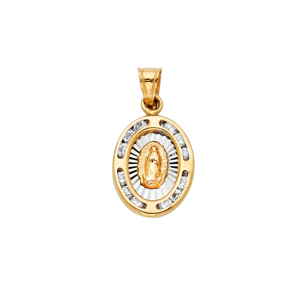 Million Charms 14K Two-Tone Gold with White CZ Accented Small//Mini Virgen De Guadalupe Pendant 17mm x 11mm with 18 Rolo Chain