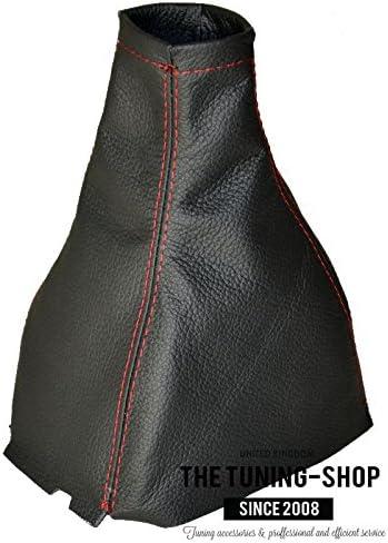 Piel aut/éntica para palanca de cambios color negro y rojo