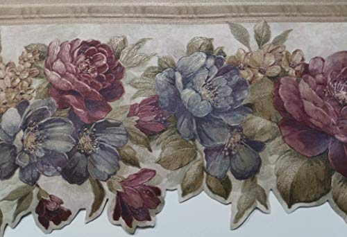 Mixed Flowers Textured Wallpaper Border - Brewster