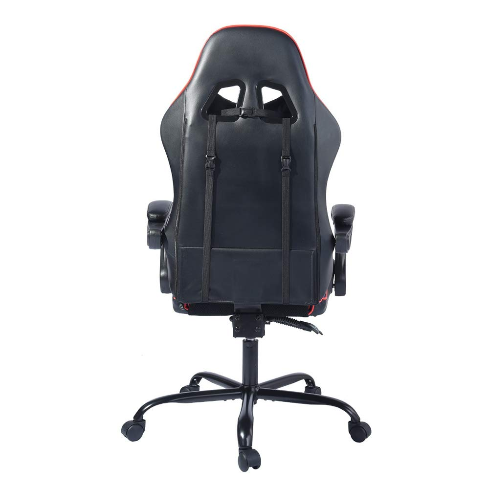 red-Black-footrest Homy Casa Managerial Executive Chairs Racing Ergonomic Backrest and Seat Height Adjustment Computer Chair with Pillows Recliner Swivel Lean Back Chairs