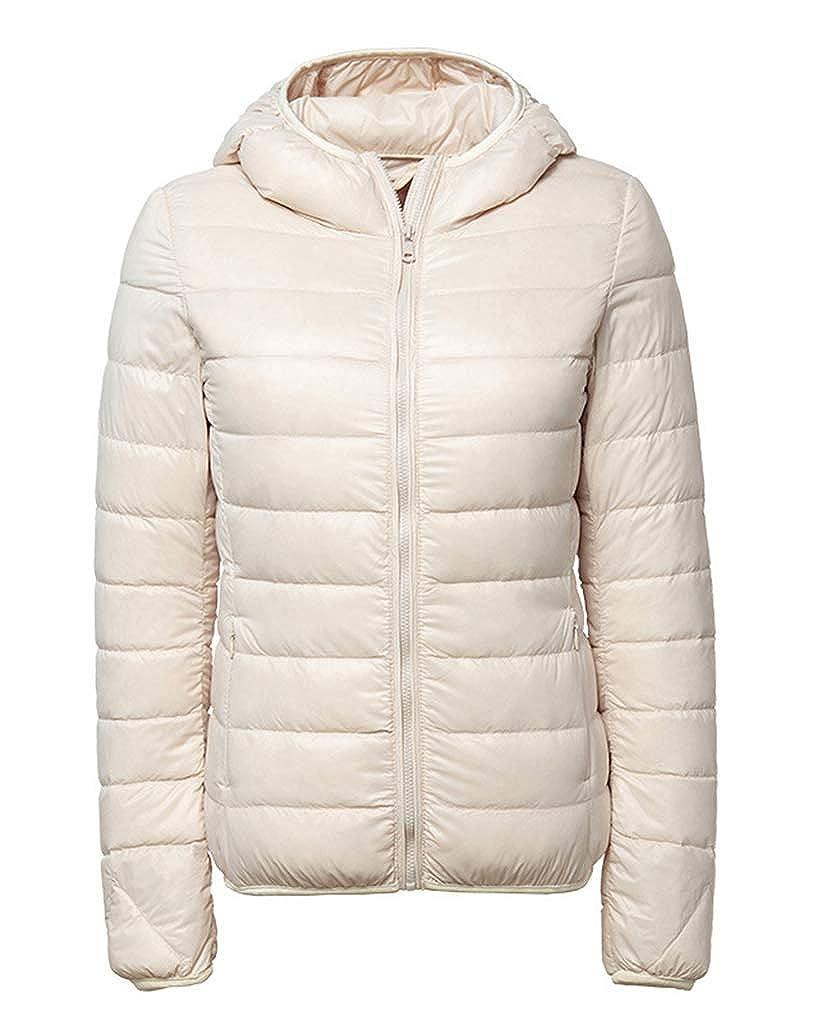 Smoon Damen Daunenjacke Isolationsjacke Jacke Ultra Leicht Steppjacke /Übergangsjacke Daunenmantel Mit Kapuze