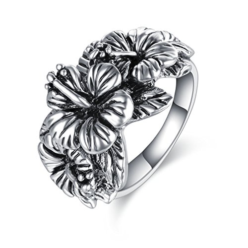 Mytys Flower Cocktail Ring Vintage Jewelry Triple Hibiscus Costume Rings Silver - Silver Hibiscus Ring