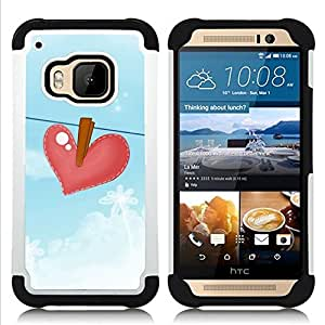 - blue heartbreak drawing sad/ H??brido 3in1 Deluxe Impreso duro Soft Alto Impacto caja de la armadura Defender - SHIMIN CAO - For HTC ONE M9