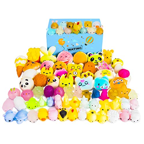 WATINC Random 70 Pcs Squishies Including 20 Pcs 2nd Generation Glitter Squishies 30 Pcs Mochi Squishies 20 Pcs Slow Rising Squishies for Mini Soft Cute Animal Cat Kid Toys Party Favors Stress Relief by WATINC (Image #7)