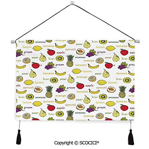SCOCICI Durable Material Multipurpose W24xL17inch Wall Hanging Tapestry Kiwi Banana Plums Lemon Orange Pear Grape Apricot Kitchen Food Print Decorative Decorative Painting Living Room Painting Fabric