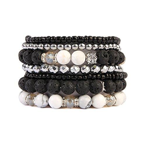 MYS Collection RIAH Fashion Lava Rock Essential Oil Diffuser Stretch Bracelet - Multi Strand Beaded Statement Bangles (White Howlite) - Beaded Stretch Bangle Bracelet