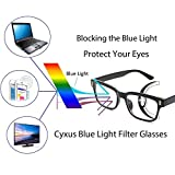 Cyxus Blue Light Filter [Better Sleep] Block UV Transparent Lens Black Frame Vintage Glasses, Anti Eye Fatigue Blocking Headaches Eye Strain, Computer Reading Eyewear, Great for Cell Phone Readers