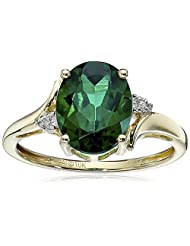 10k Yellow Gold Created Emerald and Diamond Oval Ring