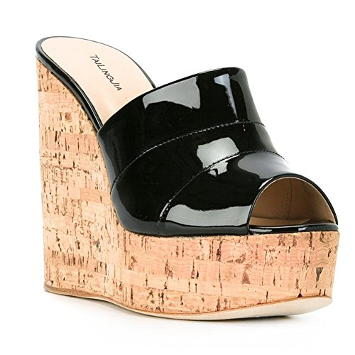 YC L la Femmes Chaussures à Robe Fait Taille Taille Prom Party Main black Slope Grande Sandales dfnfxwrAq