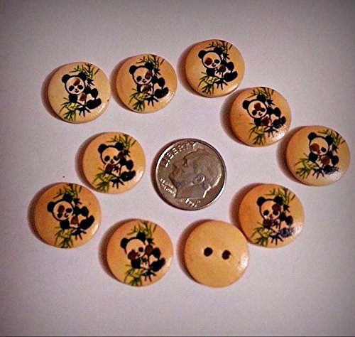 - Lot of 10 PANDA IN BAMBOO 2-hole Wood Buttons 5/8